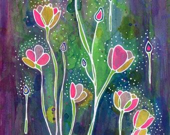 Flower Art Print - Innocence of Air - wildflower artwork, floral art, botanical wall art