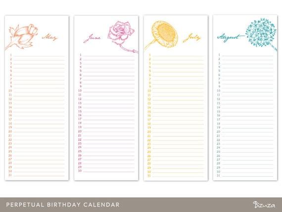 Perpetual Birthday Calendar Printable and Editable PDF