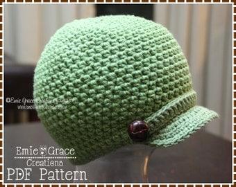 Newsboy Hat Crochet Pattern, 8 Sizes from Newborn to Adult, ALEX - pdf 406