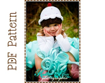 Cupcake Hat Crochet Pattern, 8 Sizes from Newborn to Adult, LIL' CUPCAKE - pdf 203