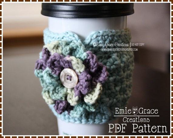 Crochet Coffee Cozy Pattern, Cup Sleeve, ADDISON - pdf 705