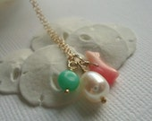 sea charm necklace - sea and sand - perfect for the beach/bridal - choose between gold or silver