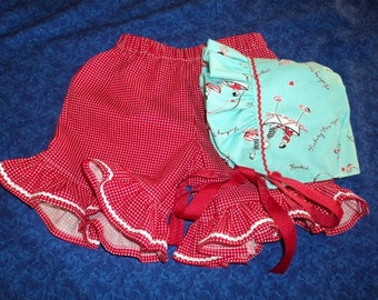Baby Bonnet and Shorts Set Aqua and Red with Rick Rack