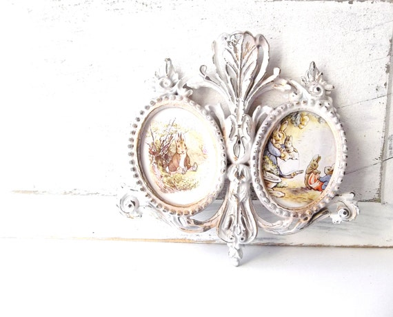 Rococo Art Baroque Ornate Guilded Frames  French Country Cottage Decor Beatrix Potter Benjamin Bunny Prints Woodland Art
