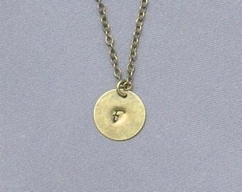 Antique Bronze Initial F Necklace