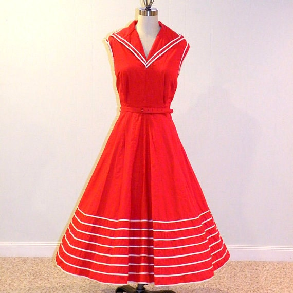 50s Sailor Dress, 1950s Dress, Nautical Red & White Stripe Cotton Sun Dress, Full Skirted Vintage Dress w Belt, Sailorette, Kerrybrooke