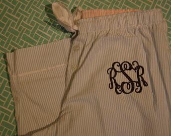 Reserved Elizabethbreier SALE Monogrammed PInk or Blue Pajama pants-seersucker fabric