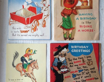 Vintage Cowgirl and Hillbilly Farmer Birthday Greeting Cards