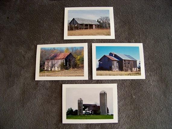 Still Standing (Barns) Medley-set of 4 blank notecards