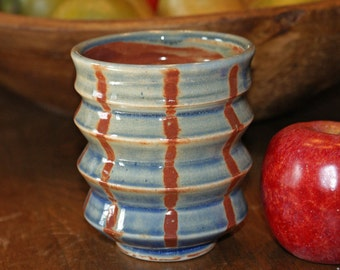 Ceramic Tumbler / Blue / Burnt Orange