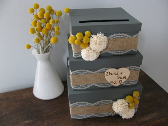 Rustic Victorian Wedding Card Box 3 tiered Charcoal Gray Burlap and Lace Yellow Billy Button Wood Sola Flowers Personalized Tag