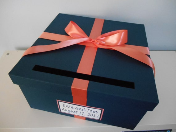 Wedding Card Box Navy With Coral You Can Customize Colors