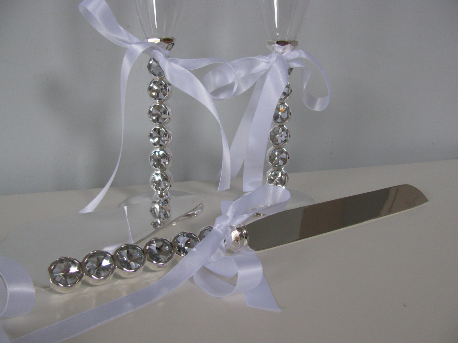 Wedding Cake Serving Set And Toasting Glasses By