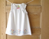 Handmade Baby Dress- 2T- Vintage Pillowcase Dress- Red Blue Flower Wreath Embroidery- Shabby Chic Heirloom Baby Shower Gift