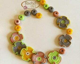 Lampwork Glass Flower Beads, FREE SHIPPING, Handmade Spiral Lavender Glass Disc Beads, Rachelcartglass
