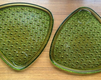 Vintage Green Glass Luncheon Plates