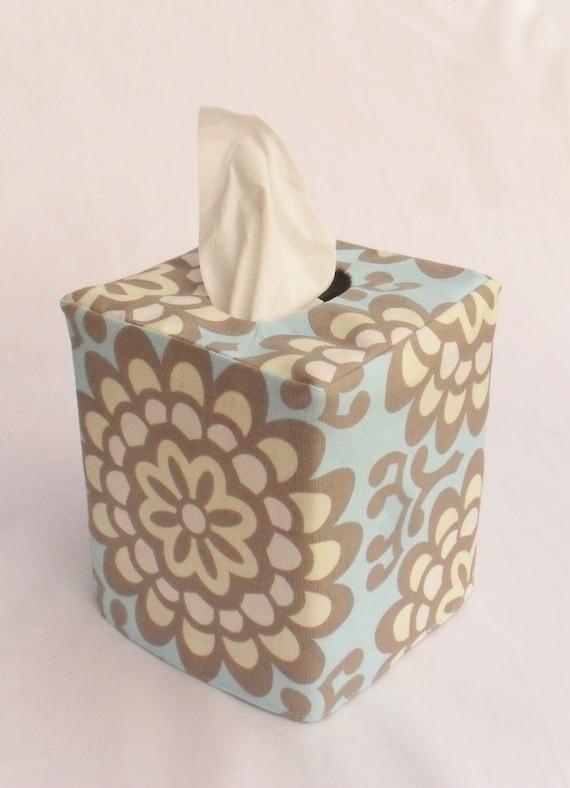 Blue Wallflower reversible tissue box cover