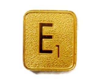 Vintage Gold Scrabble Tile 24K Gold Plated Letter E