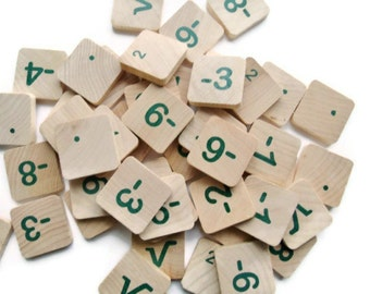 Wood Number Tiles Math Game Tiles set of 50