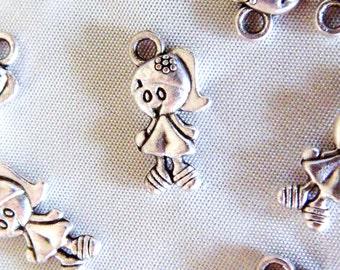 Silver Charm Pendant Girl 7x14mm -2 pcs