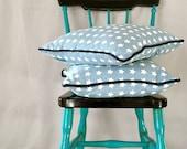 Blue Linen Star pillow with Denim details