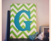 Jrgarnick- Custom Fabric Wrapped Canvas with Yarn Letter.