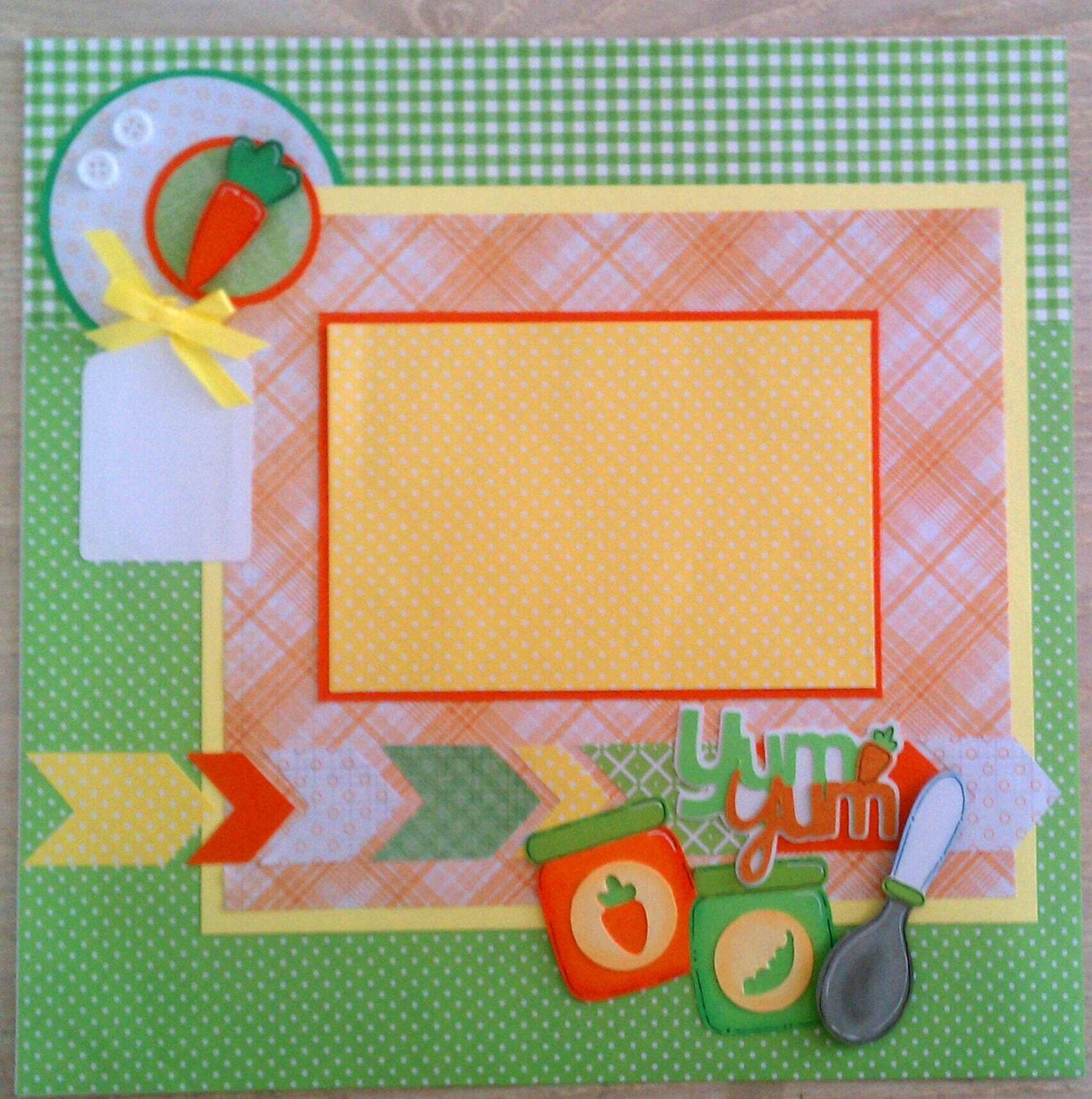 First foods 12x12 premade scrapbook layout page ohioscrapper for Scrapbooking cuisine