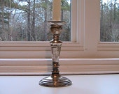 Vintage Silver Plate over Brass Candle Stick - Oval Shape - Weighted - Wedding Treasure