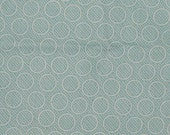 Pastel aqua quilt fabric remnant with white circles ad dots