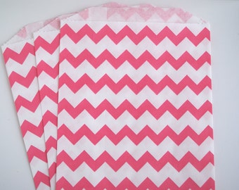 Hot Pink Chevron Favor Bags (20)