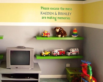 Please excuse the mess PERSONALIZED Playroom 30x13.5 Vinyl Wall Decal Decor Wall Lettering Words Quotes Decals Art Custom