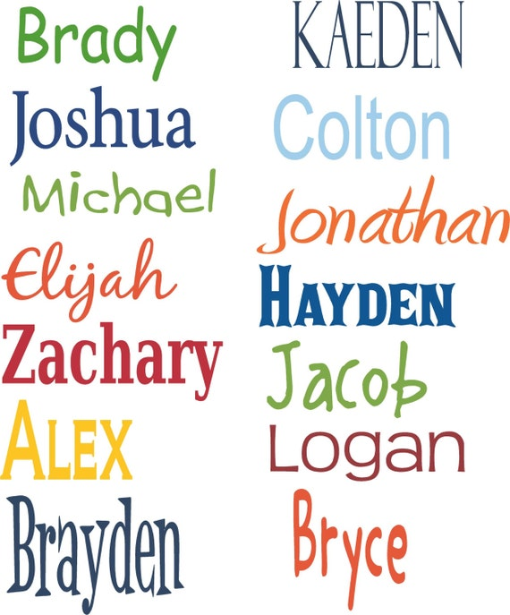 Boy Names PERSONALIZED Vinyl Wall Decal Art