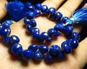 8 '' inches Full Strand Gorgeous Blue AAA  - LAPIS LAZULI - Micro Faceted Onion shape Briolett huge size 6 - 8 mm Approx