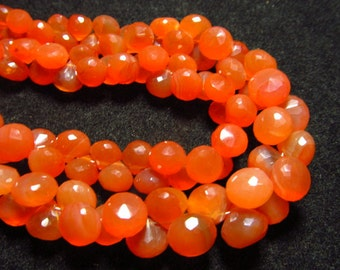 8 inches So Gorgeous Orange - CARNELIAN - Faceted Onion Briolett Huge size - 8 - 10 mm approx