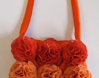 Shoulder Bag: Tangerine /peach with peony embellishments, formal, high fashion purse