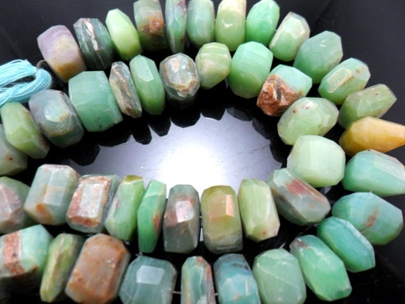 Gemstone Bead, Green Peruvian Opal, Universal Cut, Thick,, various size, 13x1-9mm  priced per half strand