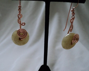 Copper and Jade Disk Earrings