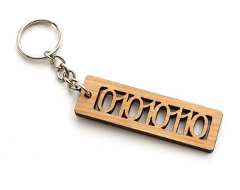 """ASCII Code Binary Letter """"V"""" Keychain - 01010110 - Geekery  Sustainable Black Cherry Wood . Timber Green Woods"""