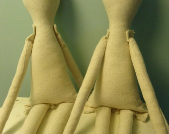 "2 Primitive 21""-22"" muslin cloth rag doll bodies-tall and skinny doll form-rough linen-osnaburg"