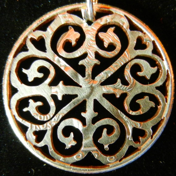 Rose Window Hand Cut Coin Jewelry