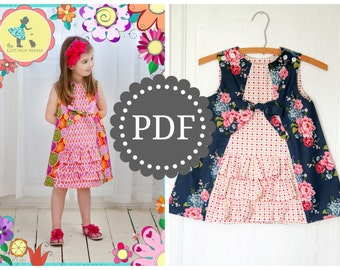 Girls Ruffle Dress PDF PATTERN: Ruby Ruffle Dress - Size 6 Month through 10 Years by The Cottage Mama