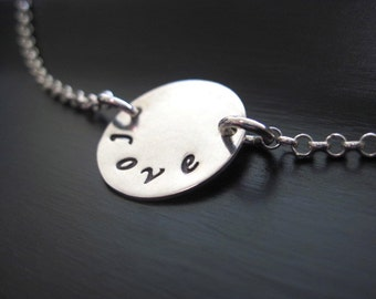 Hand stamped Love Necklace Sterling Silver