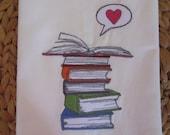 Book Love - Kitchen Flour Sack Towel - Gourmet - Natural Cotton