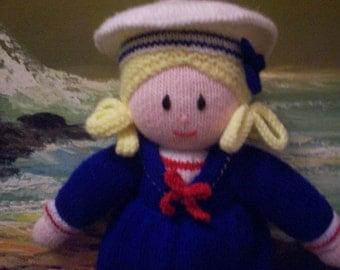 Handmade in Australia Knitted Sailor Girl Doll