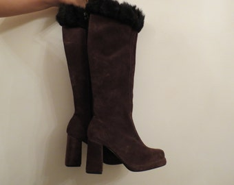 SALE 50% OF Vintage Made in Australia Christina International Brown Suede High Heeled Boots with Faux Fur Tops