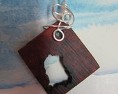 Exotic Wood Amboyna Burl pendant natural hole, wire wrapped Nontarnish silver wire ecofriendly jewelry
