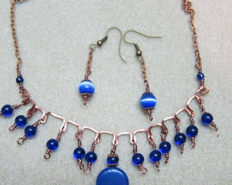 Lapis, cobalt Blue, Bohemian beaded necklace handcrafted earrings set handmade Watercolorsnmore