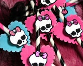 Monster High Mini Party Decoration-- Paper Straws Hot Pink and Black Stripe -- Goth -- Princess -- Halloween