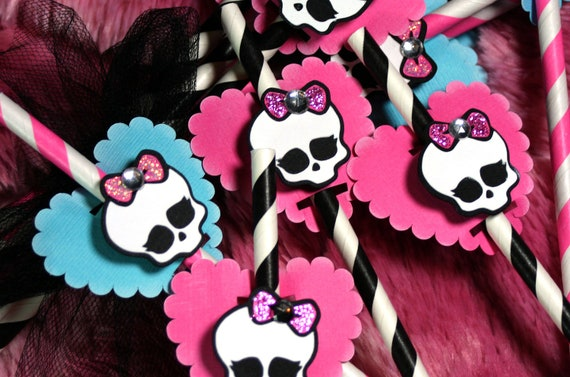 items similar to monster high mini party decoration paper straws hot pink and black stripe goth princess halloween on etsy