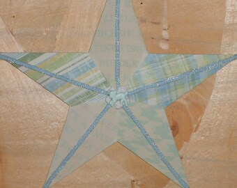 Blue Baby Boy Decoupaged Wooden Star
